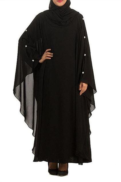 Picture of Black Chiffon Abaya Jilbab-B-798