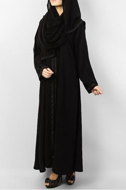 Picture of Black Polyester Embroidered Abaya 0116-M (2)