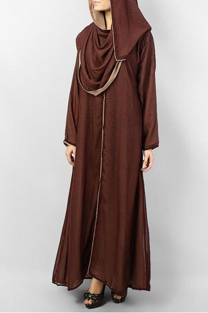 Picture of Brown Polyester Front Open Double Shade Abaya 0116-BD Arabis