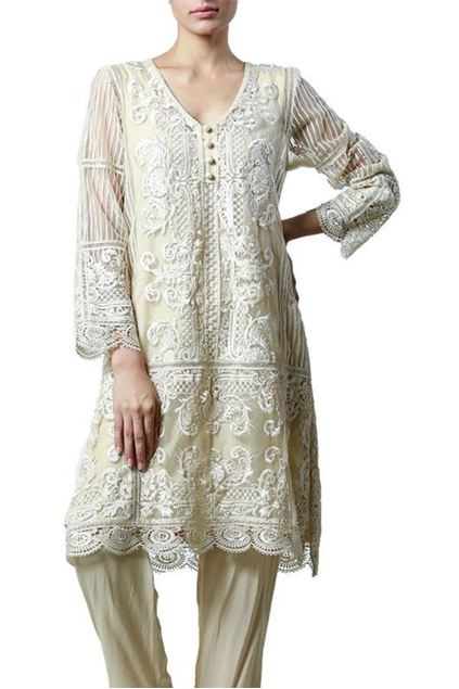 Picture of Kali Kurta With Silk Floss Embroidery