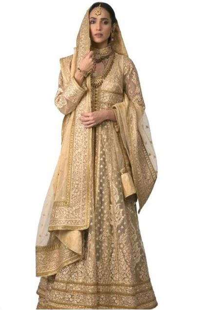 Picture of Classic Gold Peshwaz With Heavy Dupatta and Lehenga