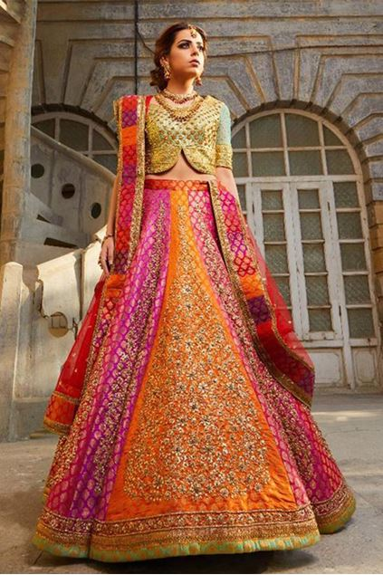 Picture of Multicoloured Panel Lehenga With Gold Choli And Dupatta