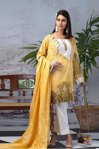 Picture of Yellow Stitched Printed Lawn Suit