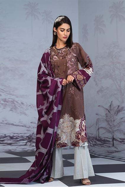 Picture of Brown Stitched Printed Lawn Suit