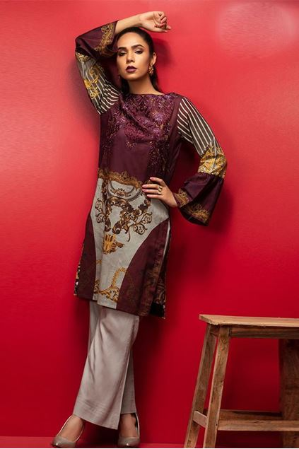 Picture of Stitched & Printed Embroidered Lawn Kurta