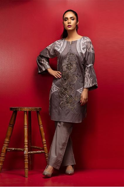Picture of Grey Stitched Lawn Kurta.