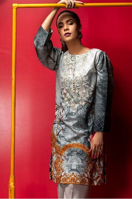 Picture of Grey Embroidered Lawn Kurta