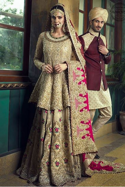 Picture of Gold Peplum With Gradient Maroon Dupatta