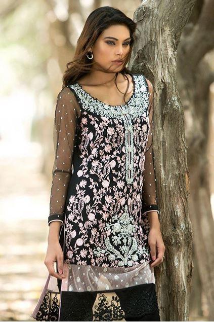 Picture of Black and Powder Pink Chiffon Shirt