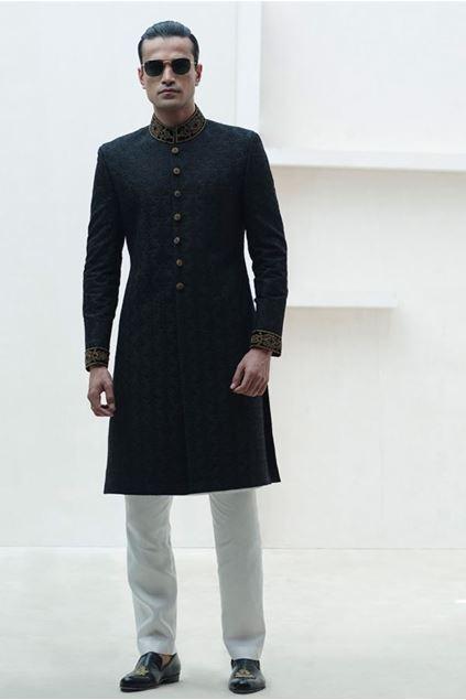 Picture of Black Rawsilk  Sherwani