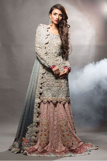 Picture of Ash Grey Short Shirt with Pink Lehnga