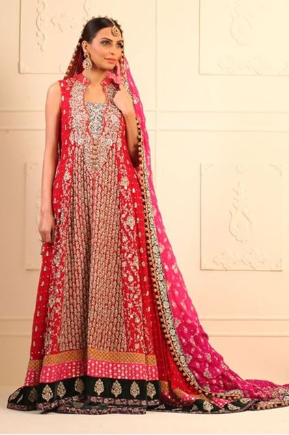 Picture of Long Red Mehsuri Net Paneled Dress