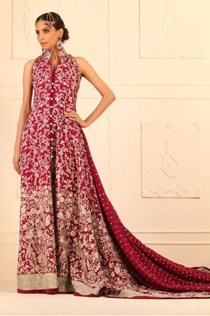 Picture of Magenta Floor Length Khaddi Net Front Open Dress