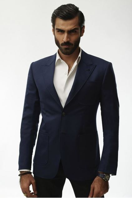 Picture of Blue Jacket With Two Buttons Pointed
