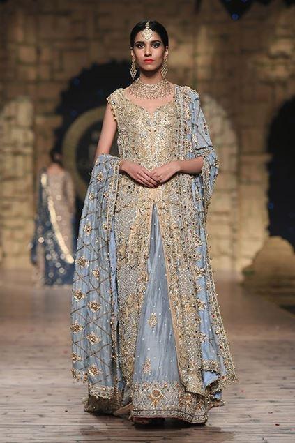 Sadaf Amir - Grey Bridal Raw Silk Lehenga