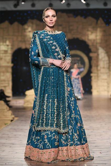 Sadaf Amir - Blue Bridal Raw Silk Lehenga