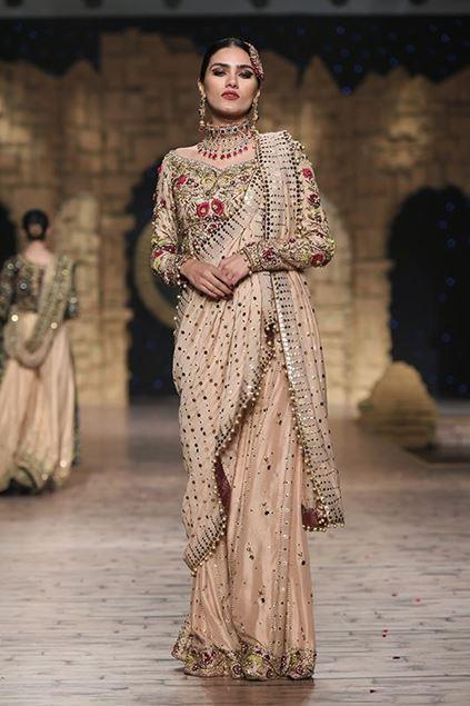 Sadaf Amir - Golden Bridal Raw Silk Saree