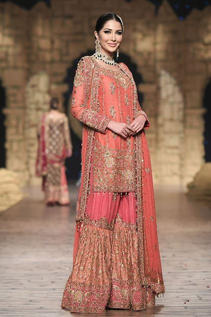 Sadaf Amir - Orange Bridal Raw Silk Gharara