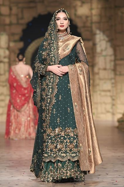 Sadaf Amir - Green Bridal Raw Silk Sharara