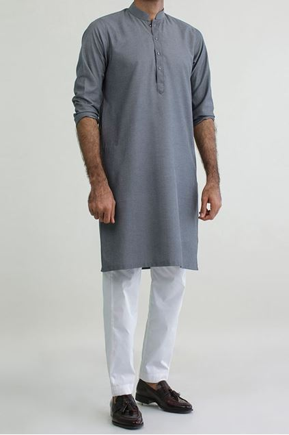 Picture of Grey - Cotton Structed Kurta