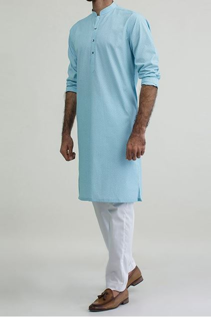 Picture of Light Blue Printed Kurta