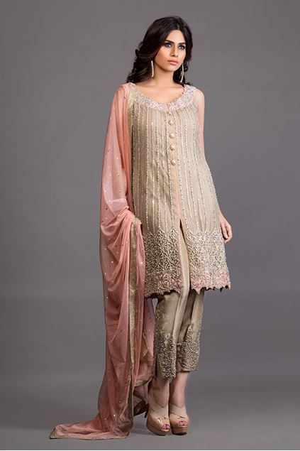 Picture of Beige Front Open Embellished Ensemble
