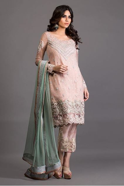 Picture of Salmon Pink and Pistachio Green Embellished Outfit