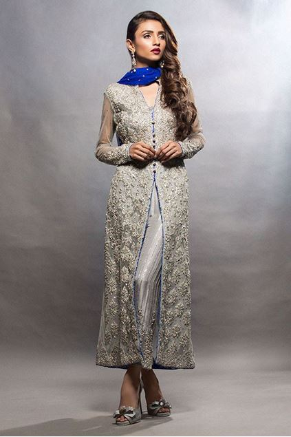Picture of Long Grey Shirt with Cobalt Dupatta