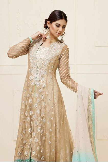 Picture of Beige Floor Length Net Jacket
