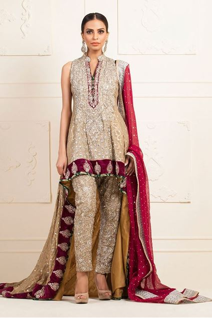 Picture of Beige Chiffon Jamawar Dress