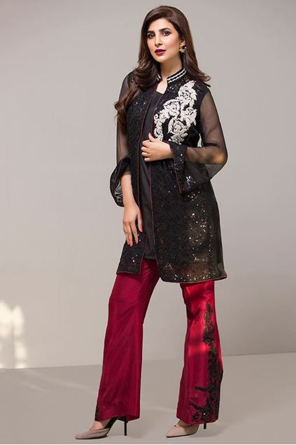 Picture of Black With Maroon Bell Bottoms Dress