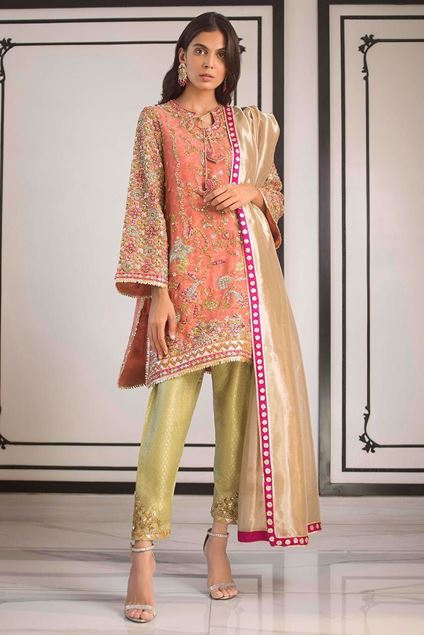 Picture of Cotton Net Hand Work Kurta