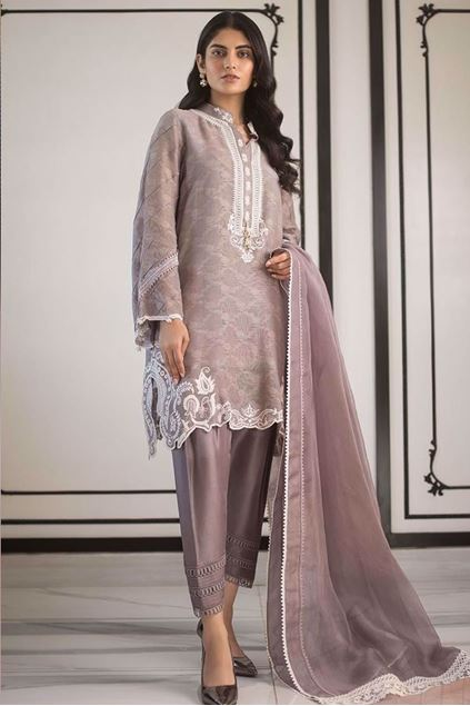 Picture of Cotton Net Embroidered Shirt And Dupatta
