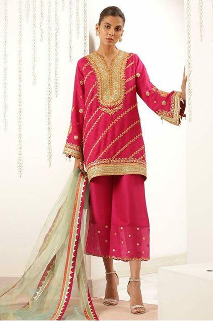 Picture of Boxy Marodi Work Cotton Net Kurta with Dupatta