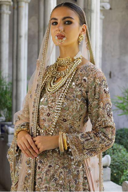 Moazzam khan Bridal Party Wear Maxi with Long Tailed Dupatta
